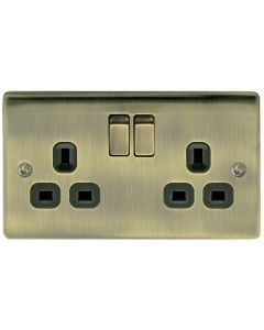 2 Gang 13A Switched Socket Black Insert