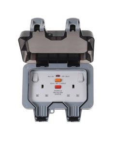 BG 2 Gang 13A DP RCD IP66 Weatherproof Switched Socket (latching)